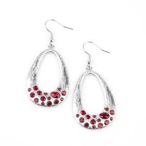 Scratched Silver Red Rhinestone Teardrop Earrings